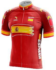 6adc70dcdc367 Camisa Ciclismo Espanha Vermelha