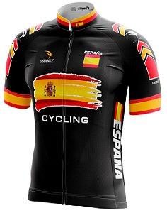 Camisa Ciclismo Espanha Preta