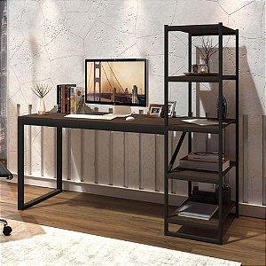 Mesa Escrivaninha Com Prateleiras Home Office Preto Castanho Rústico