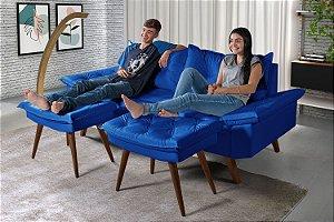 Sofá em Courino Azul Marinho 3 Lugares Bariloche Com Duas Banquetas