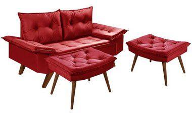 Sofa 2 Lugares Bariloche em Espuma D28 Com Duas Banquetas Rubi em Suede Essencial Estofados