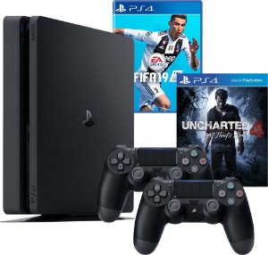 Ps4 Slim 500gb Bivolt Com 2 Controles + Fifa 19 + Uncharted 4
