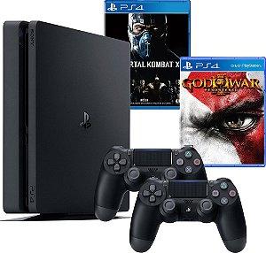 Console PS4 Slim 500GB Slim Com 2 Controle + 2 Jogos