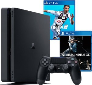 Console PS4 Slim 500GB Slim + Fifa 19 + Mortal Kombat XL