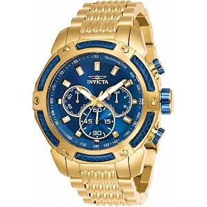 Relógio Invicta Speedway 26476 Masculino 48 MM Dourado Com Azul