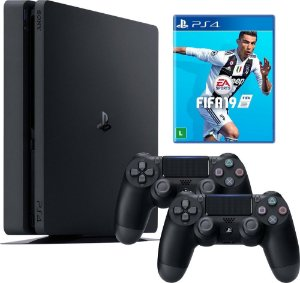 Console Playstation 4 1TB Modelo 2115B Slim Com 2 Controles + Fifa 19