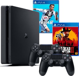 PS4 - Console Sony PlayStation 4 - 500 GB Preto 2215A + 2 Controles + 2 Jogos