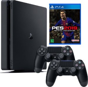 Console Sony PlayStation 4 - 500 GB Preto 2115A Slim Com 2 Controles + PES2019