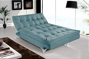 Sofá Cama 3 Lugares Versátil Veludo Azul Turquesa