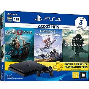 PS4 Slim Console 1TB Hits Bundle 4a Geração + 3 Jogos