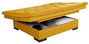 Sofá Cama Com Bau Reclinável Suede Liso - Amarelo
