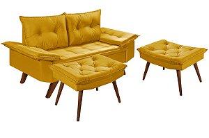 Sofá 2 Lugares Amarelo Bariloche Com Duas Banquetas Rubi em Suede