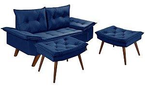 Sofá 2 Lugares Azul Marinho Bariloche Com Duas Banquetas Rubi em Suede