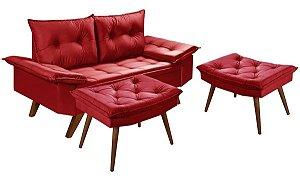 Sofá 2 Lugares Vermelho Bariloche Com Duas Banquetas Rubi em Suede