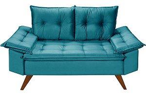 Sofá Azul Turquesa Bariloche 2 Lugares em Suede Essencial Estofados