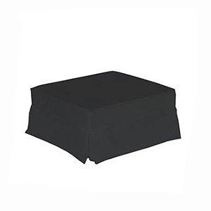 Pufe quadrado em sarja preto