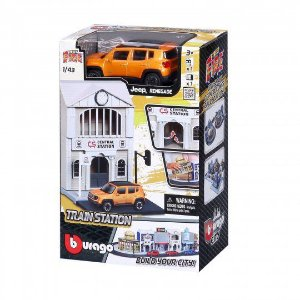 MINIATURA STREET FIRE JEEP RENEGADE TRAIN STATION  BURAGO 1/43