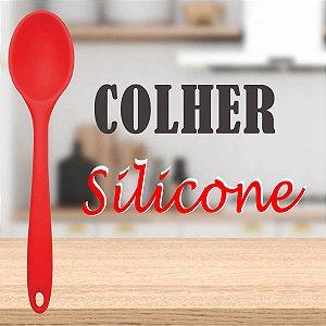 Colher Para Arroz Grande Silicone Vermelha 28cm Premium