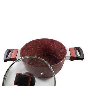 Panela Stonechef Ruby com Tampa De Vidro 18cm  Vermelho Premium