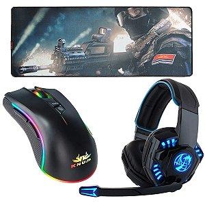 Kit Gamer Fone de Ouvido Headset 706 Dragon , Mousepad e Mouse 7botoes X1