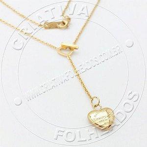 Gargantilha Tiff Coração Mini Heart Pequeno Inox