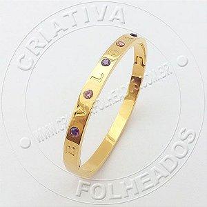 Bracelete Pulseira BV Com Cristais Rosa e Lilas Inox