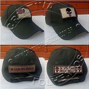 Boné Chapéu Usa Estados Unidos Americano Bandeira Velcro Patch Removível Army Tático