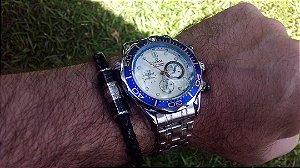 Relógio a Bateria Quartz Todo Funcional Cronógrafo Seamaster 007 Emirates New Zeland Team