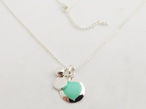 Gargantilha Colar TF Coração Verde Circular Cadeado E Bola Cristal Aço Inox NY
