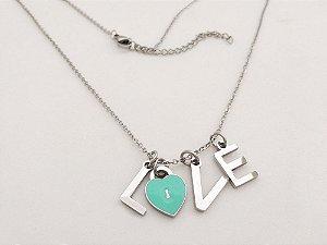 Colar Gargantilha Tf Coração Verde Cadeado Letras Love Aço Inoxidável