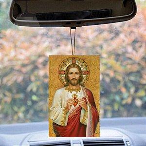 Aromatizante Veicular sagrado coração de Jesus aroma sândalo e hibisco