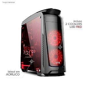 Gabinete NFX Gamer DARKFACE 2 com 2 coolers LED VERMELHO (lateral em acrílico / sem fonte)