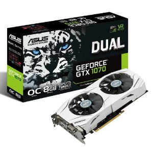 Placa de Vídeo VGA NVIDIA ASUS GEFORCE GTX 1070, 8Gb GDDR5, 256-Bits, VR Ready, Auto-Extreme, Wing-Blade Fans, DVI/2-HDMI/2-DP, DUAL-GTX1070-O8G