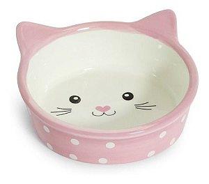 Comedouro de Porcelana  Pets Face Cat Fundo - 200ml