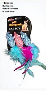Brinquedo Gatos Ratinhos c/ Plumas 3 unid.