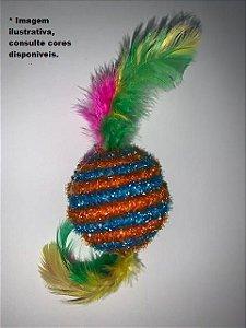 Brinquedo Caracol Pet  Gatos bolinha com penas - aproximadamente 12cm