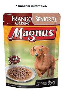 Ração Úmida Magnus  Sachê Sênior 7+ frango ao molho para Cães 85gr
