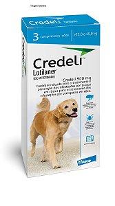 Antipulgas e Carrapatos Elanco Credeli 900 mg para Cães de 22 á 45kg combo com 03 comprimidos