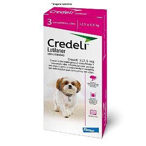 Antipulgas e Carrapatos Elanco Credeli 225 mg para Cães  de 2,5 a 5,5 kg combo com 03 comprimidos