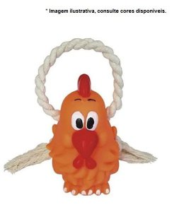 Brinquedo para  Cães de Vinil e Algodão Galinha com corda - aprox. 15cm