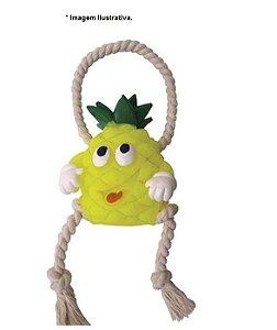 Brinquedo para  Cães de Vinil e Algodão Abacaxi com corda - aprox. 15cm