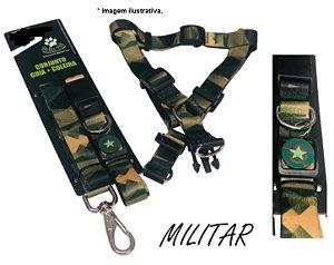 Conjunto Militar Bella Pet  Peitoral+Guia+Coleira tamanho P 1kg a 3,5kg (03 produtos)
