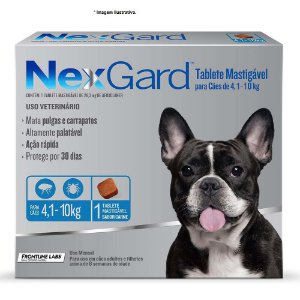 Antipulgas e Carrapatos NexGard 28,3 mg para Cães de 4,1Kg á 10kg