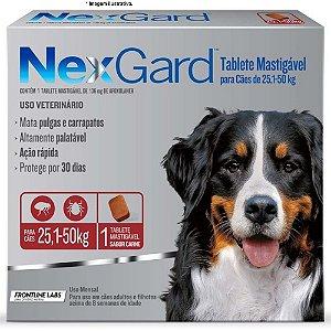 Antipulgas e Carrapatos NexGard 136mg para Cães de 25.1 á 50Kg