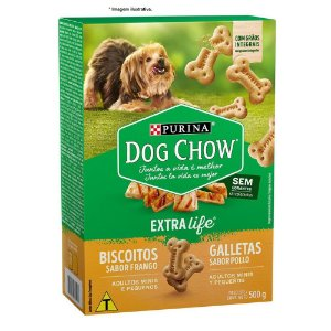 Biscoitos Nestlé Purina Dog Chow Extra Life Frango para Cães Adultos Raças Minis e Pequenos 500gr