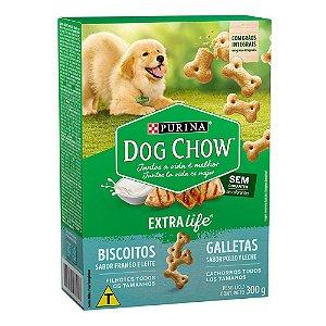 Biscoitos Nestlé Purina Dog Chow Extra Life Frango e Leite para Cães Filhotes Todos os Tamanhos 300gr