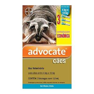 Antipulgas Bayer Advocate para Cães de 4 a 10 Kg 1,0 ML 3 bisnagas