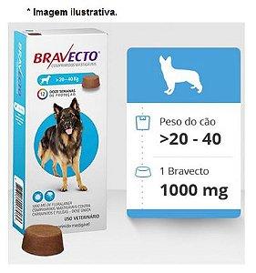 Antipulgas e Carrapatos Bravecto para Cães de 20 a 40kg - 1000mg