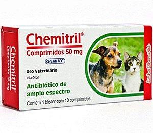 Antibiótico Chemitril para Cães e Gatos com 10 comprimidos 50mg