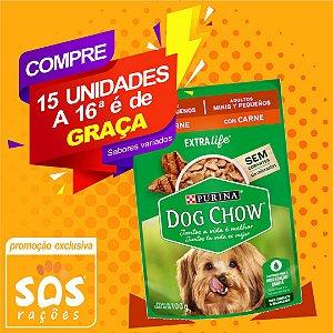 Ração Úmida Sachê Dog Chow Adultos Raças Pequenas Carne e Arroz 100gr